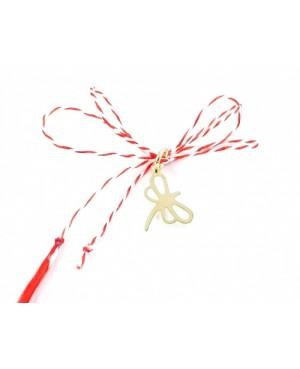 Martisor din aur galben 14K Libelula snur rosu Acasa