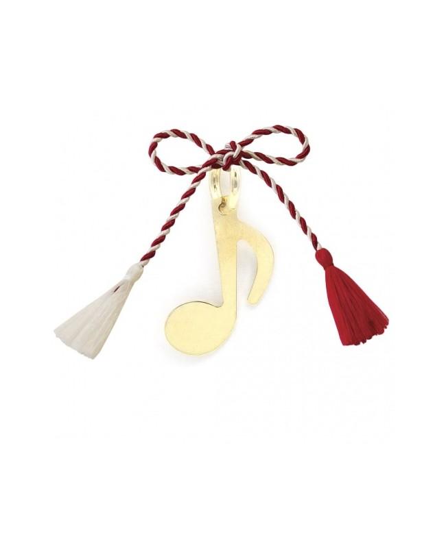 Martisor din aur galben 14K Cheia sol snur rosu Acasa