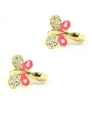 Cercei din aur galben 14K Fluturasi roz stift bebelusi si fetite Cercei din aur