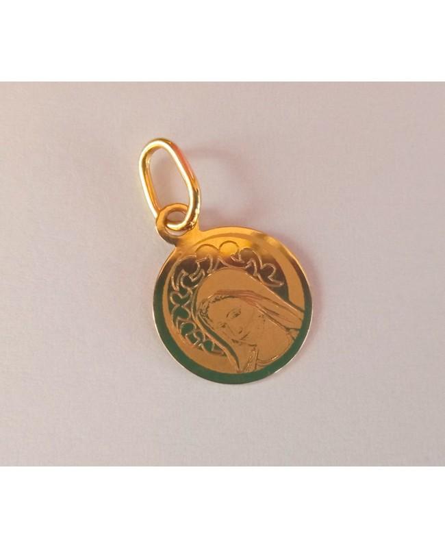 Pandant din aur galben 14K ICONITA Maica Domnului banut 11 mm Acasa