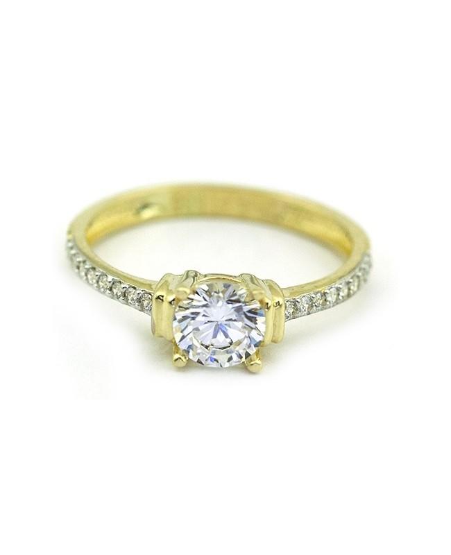 Inel de logodna din aur 14K cu pietre Zirconiu masura 14 Acasa