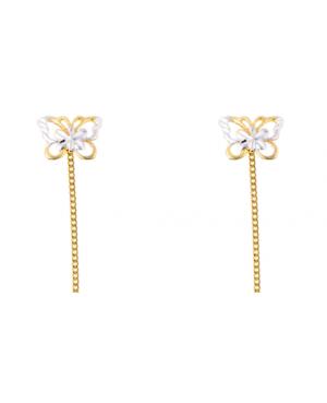 Cercei din aur galben si alb 14k cu lantisor Fluturasi 1 cm Cercei aur lungi
