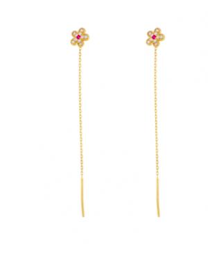Cercei din aur galben 14k dama lungi cu lantisor Floricica Cercei aur lungi
