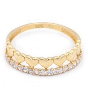 Inel de aur 14K Bijuterii dama Inimioare cu pietricele albe R17 Acasa