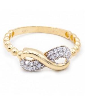 Inel de aur 14K Bijuterii dama Infinit cu pietricele albe R14 Acasa
