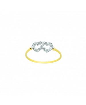 Inel de aur 14K Bijuterii dama Doua Inimioare cu pietre albe R16 Acasa
