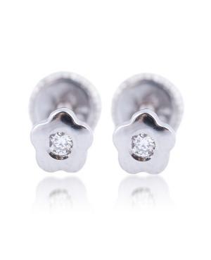 Cercei de aur alb bebelusi nou nascuti Floricele mici cu piatra alba 4mm Cercei din aur
