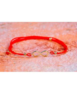 Bratara snur rosu reglabila, copii si adulti cu pandant din aur 14k Infinit 10 mm Acasa