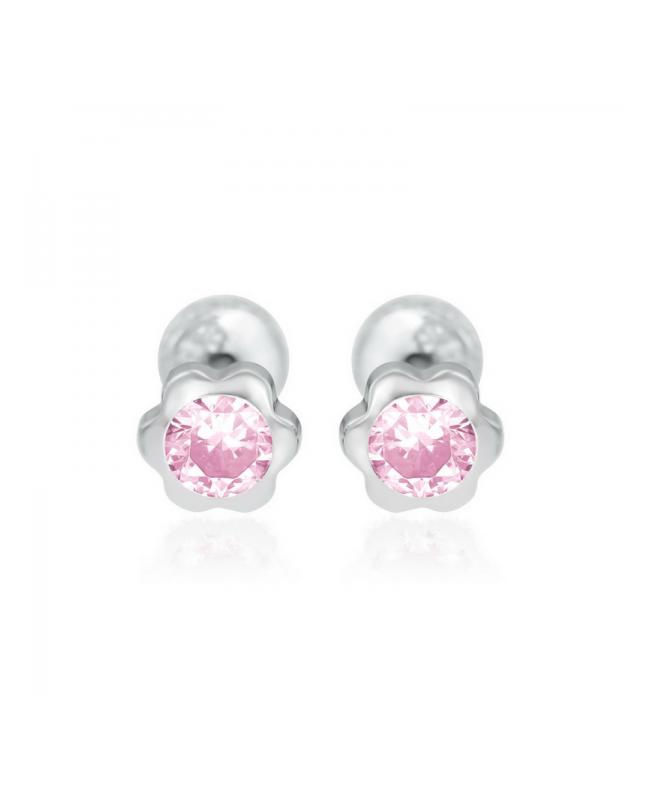 Cercei de aur alb nou nascuti bebelusi cu Floricele 4mm cu piatra roz Cercei din aur