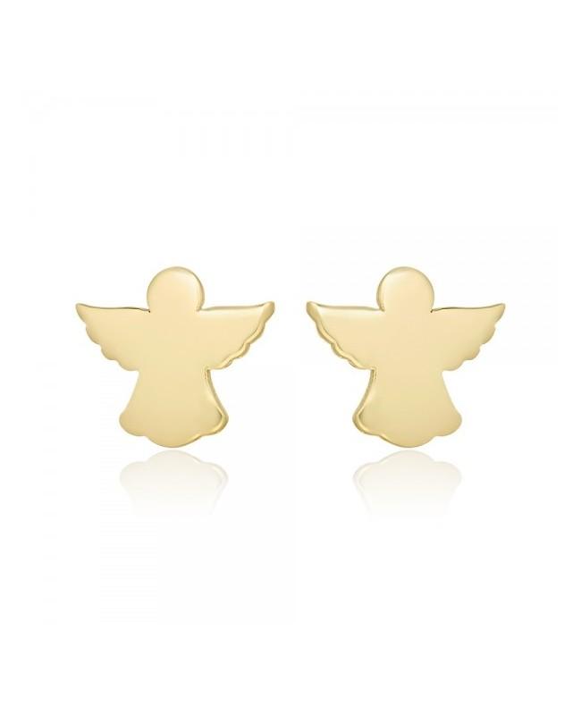 Cercei de aur galben 14k bebelusi copii Ingerasi plati 5mm Cercei din aur