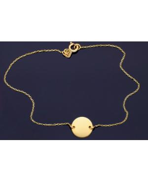 Bratara aur 14K gravabila dama cu Banut - Bratari de aur femei Acasa
