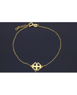 Bratara din aur 14K dama cadou reglabila cu Trifoi cu patru foi Acasa