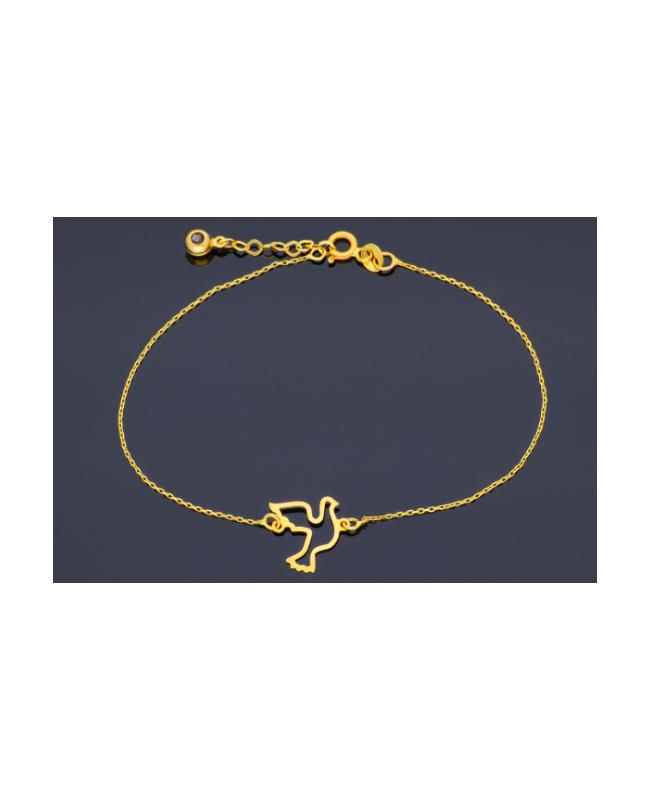 Bratara din aur galben 14k femei Porumbel- Bratari de aur dama Acasa