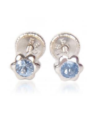 Cercei din aur alb copii Floricele 5mm cu piatra albastra Cercei din aur