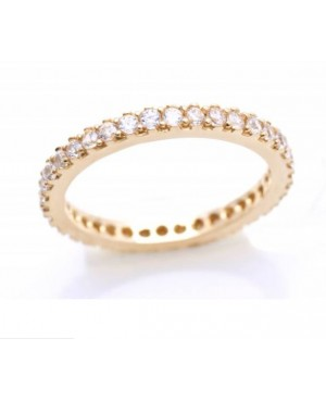 Inel din aur galben 14k tip verigheta cu pietre Zirconiu albe masura 11 Acasa