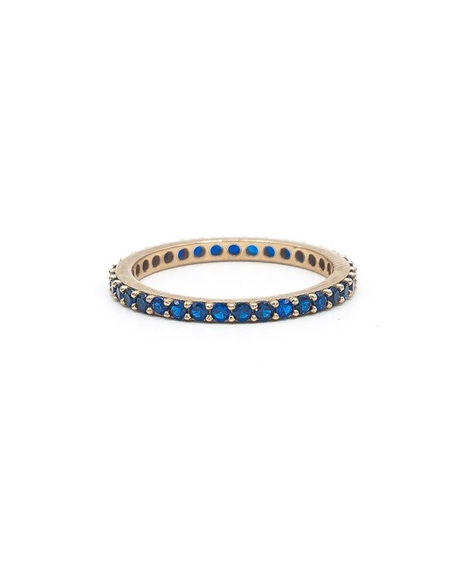 Inel aur galben 14k tennis cu pietre albastru safir masura 11 Acasa