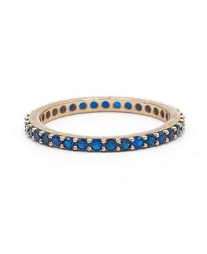 Inel aur galben 14k tennis cu pietre albastru safir masura 9 Acasa