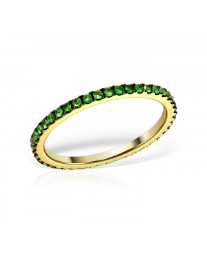 Inel aur galben 14k tennis cu pietre verzi smarald masura 13 Acasa