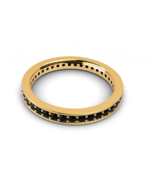 Inel de aur 14K Bijuterii dama tip verigheta tenis cu pietre negre, masura 11 Acasa