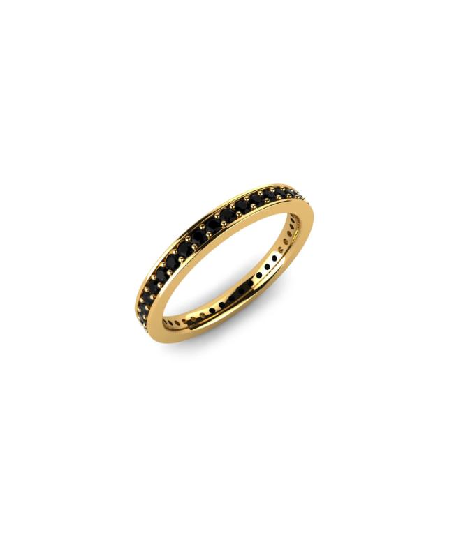 Inel de aur 14K Bijuterii dama tip verigheta tenis cu pietre negre, masura 12 Acasa