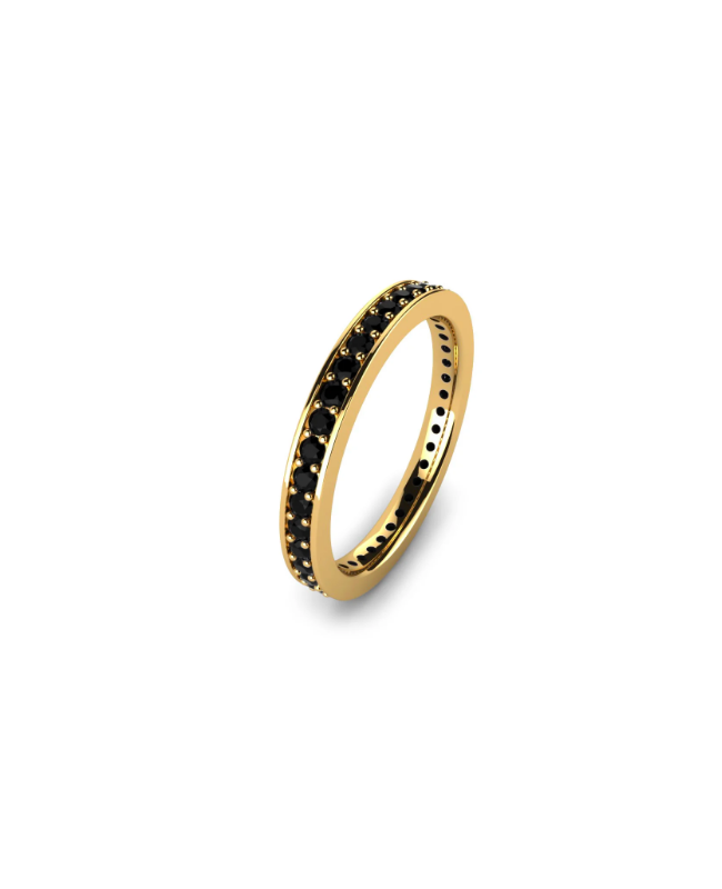 Inel de aur 14K Bijuterii dama tip verigheta tenis cu pietre negre, masura 14 Acasa