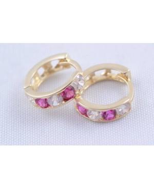 Cercei aur galben rotunzi tortite fete pietre roz inchis 10 mm Cercei din aur