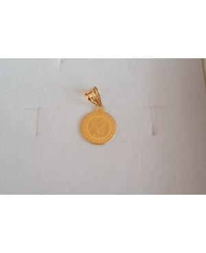 Pandant din aur galben 14K ICONITA Maica Domnului cu pruncul banut 12 mm Acasa