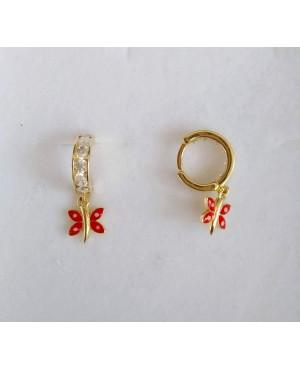 Cercei aur 14K nou nascuti rotunzi tortite cu pietre albe si fluturasi rosii 7 mm Cercei din aur