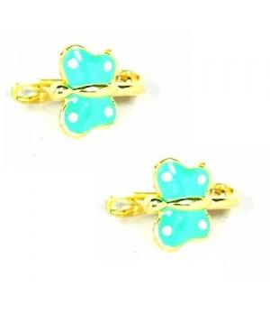 Cercei aur galben 14K nou nascuti, bebelusi Fluturasi bleu turcoaz Cercei din aur