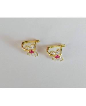 Cercei de aur 14K nou nascuti si copii Fluturasi roz rubin Cercei din aur