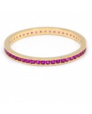 Inel de aur 14k bijuterii dama verigheta tennis rubin R12 Acasa