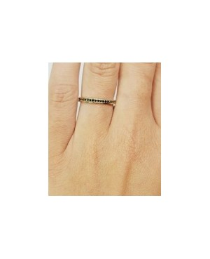 Inel din aur galben 14k tip verigheta cu pietre negre R14 Acasa