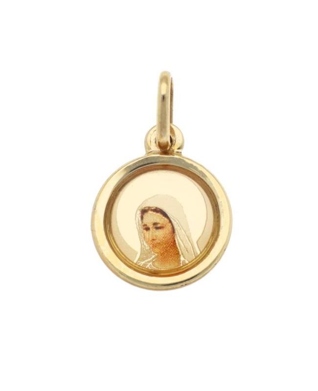 Medalion din aur galben 14k Iconita Maica Domnului Acasa