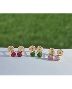 Cercei aur galben 14k fetite copii piatra patrata verde smarald 3,5 mm Cercei din aur