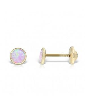 Cercei mici de aur galben rotunzi nou nascuti bebelusi cu opal roz 4,5 Cercei din aur