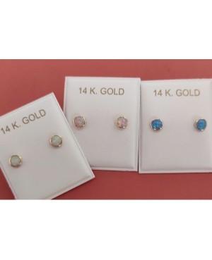 Cercei mici de aur galben nou nascuti bebelusi rotunzi cu opal albastru 4,5 Cercei din aur