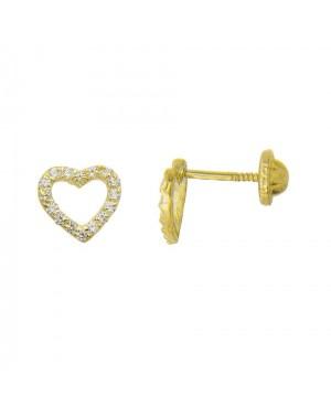 Cercei din aur galben 9k surub fetite dama Inimioare cu pietricele Cercei din aur