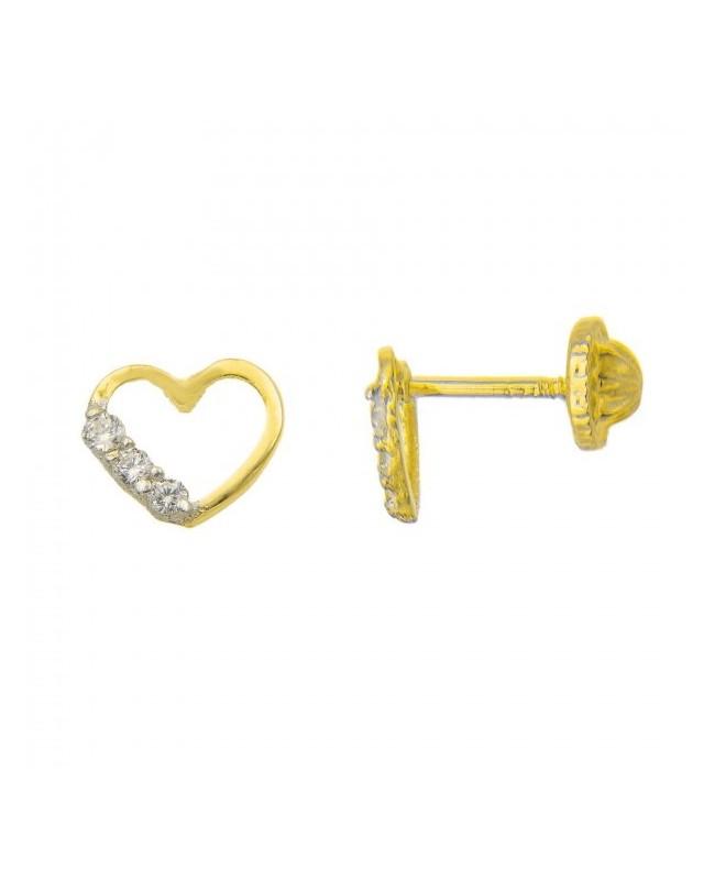 Cercei din aur galben 9k surub fetite dama Inimioare cu pietricele laterale Cercei din aur