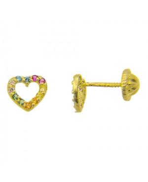 Cercei de aur galben 9k Inimioare cu pietricele colorate Cercei din aur