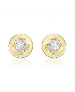 Cercei din aur 14k bebelusi nou nascuti Rotunzi cu diamant, 3mm Cercei din aur