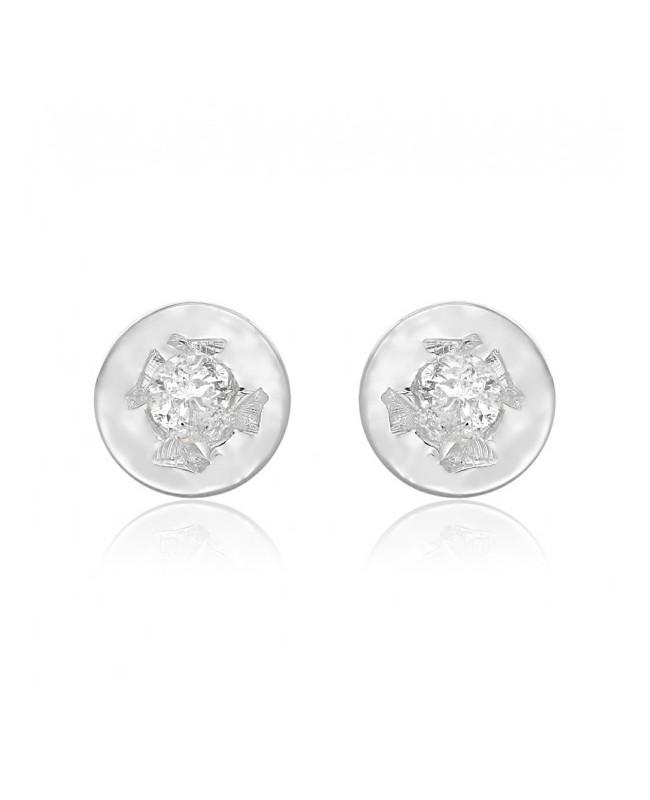 Cercei din aur alb 14K mici, nou nascuti bebelusi, rotunzi cu diamant 3 mm Cercei din aur