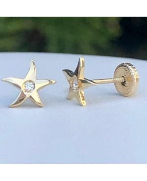 Cercei de aur 14k fete copii Stelute de mare cu Diamant Cercei din aur