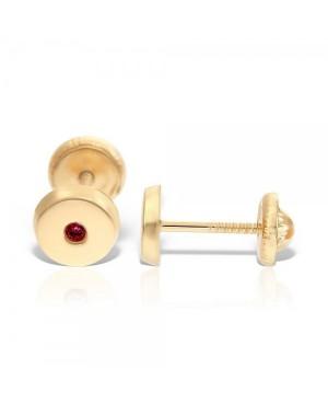 Cercei din aur 14k nou nascuti copii rotunzi 4mm cu Rubin central Cercei din aur