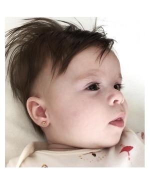 Cercei de aur alb 9k cu Safir bebelusi nou nascuti 4.5 mm Cercei din aur