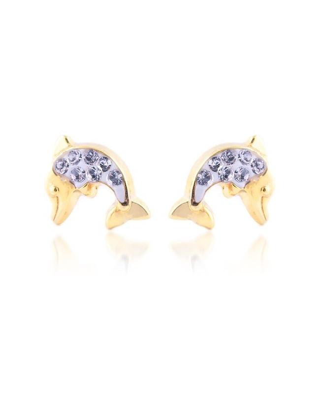Cercei de aur 14K copii bebelusi Delfini cu 7 pietre albe Cercei din aur