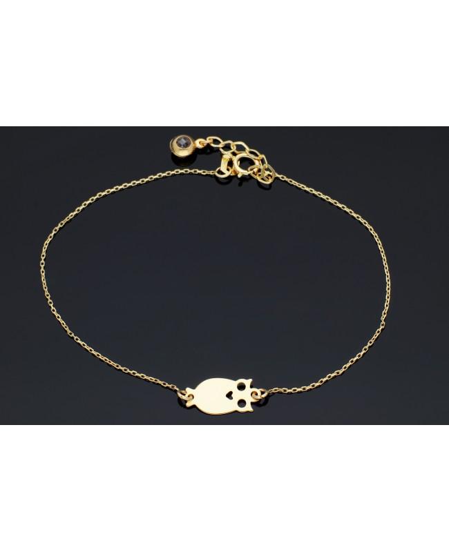 Bratara din aur 14K mobila dama cadou reglabila Bufnita Acasa
