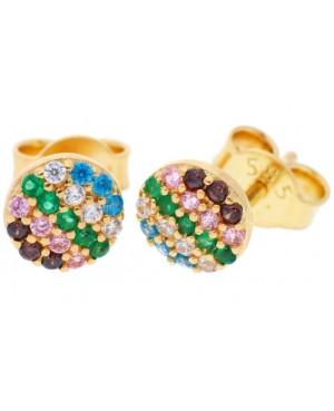 Cercei de aur 14k dama cu surub Cerc cu pietre colorate Zirconiu Cercei din aur dama