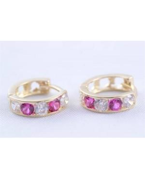 Cercei robusti din aur galben tortite fete pietre roz inchis 9 mm Cercei din aur