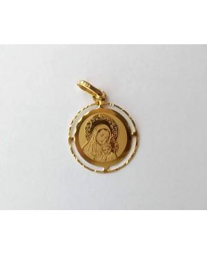 Pandantiv din aur galben 14K ICONITA Maica Domnului cu pruncul banut 18 mm Acasa