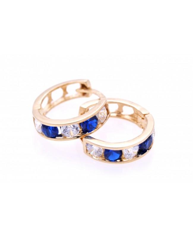 Cercei din aur 14K nou nascuti si bebelusi tortite pietre albastre 7mm Cercei din aur